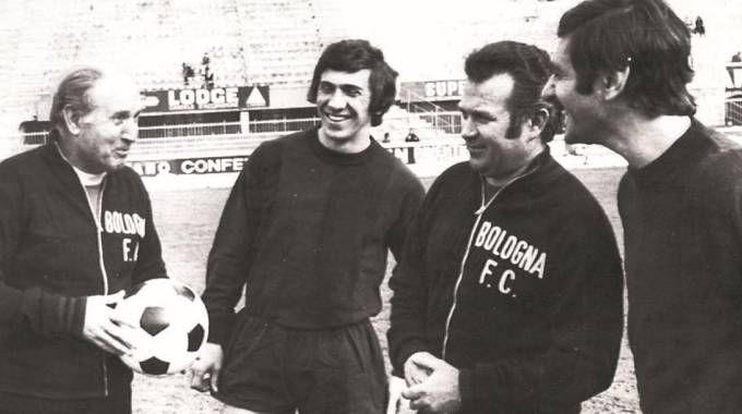 Da sinistra Oronzo Pugliese, Beppe Savoldi, Cesarino Cervellati e Giacomo Bulgarelli