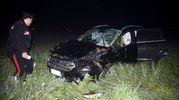 L'auto è finita fuori strada (foto Businesspress)