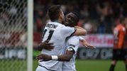 Moncini festeggia il gol dello 0-1 (foto laPresse)