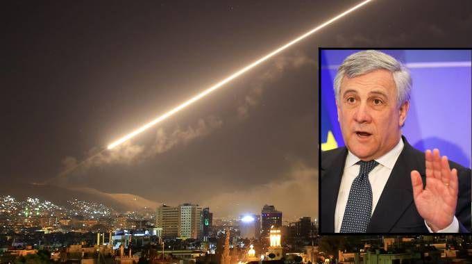 Attacco in Siria, nella foto piccola Antonio Tajani (Ansa)