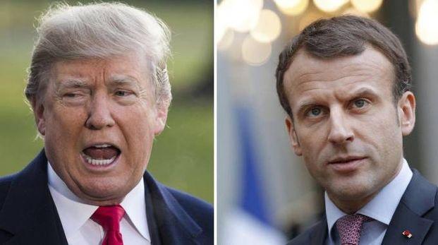 Combo Ansa: Donald Trump ed Emmanuel Macron
