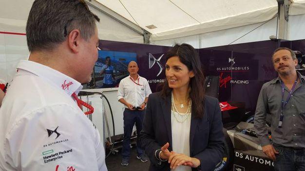 Virginia Raggi al Gran Premio di Formula E a Roma (Dire)