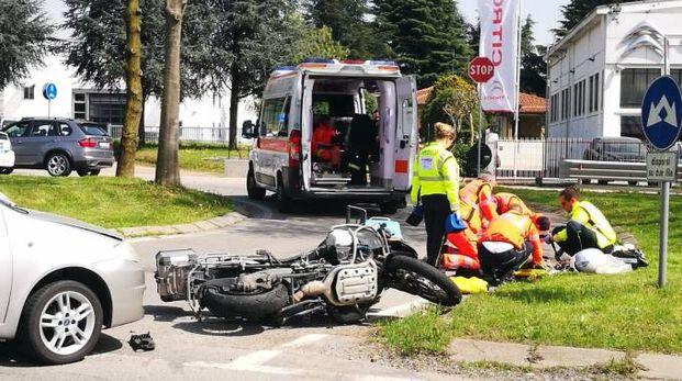 La scena dell'incidente a Osnago