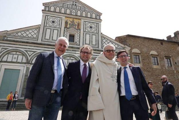 Da sin. Giani, Lotti, Padre Bernardo e Nardella (Gianluca Moggi / New PressPhoto)