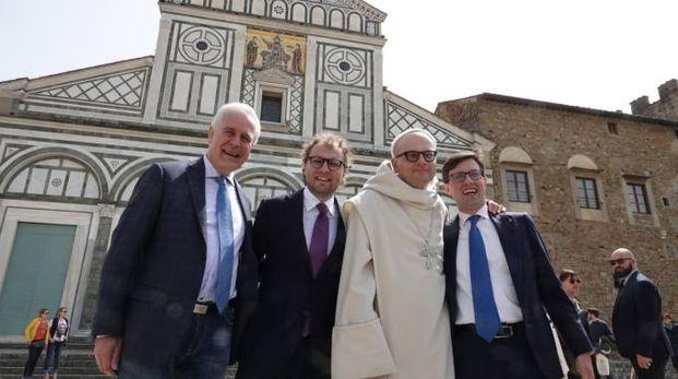 Da sin. Giani, Lotti, Padre Bernardo e Nardella alla presentazione delle iniziative