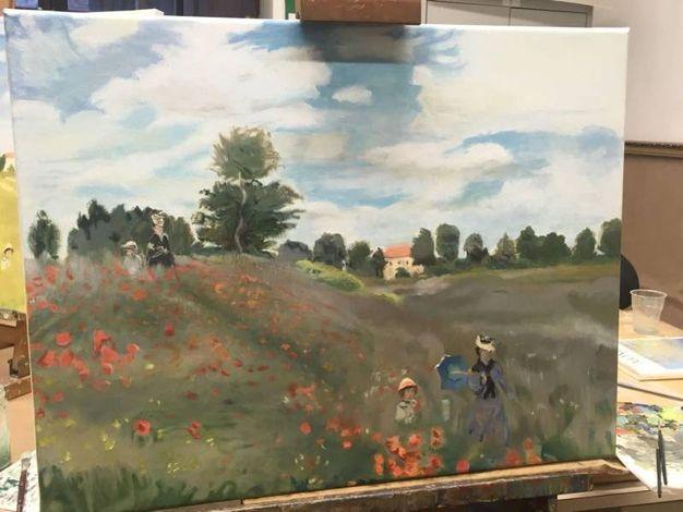 Una delle copie de 'I papaveri' di Monet realizzate  da Maria Victoria Capuani e Carlotta Corduas