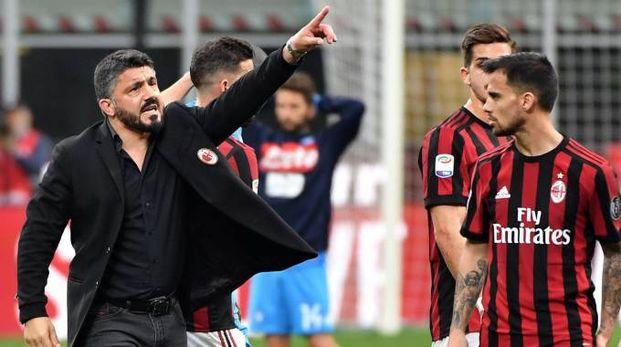 Milan, il mister Gennaro Gattuso (foto Ansa)