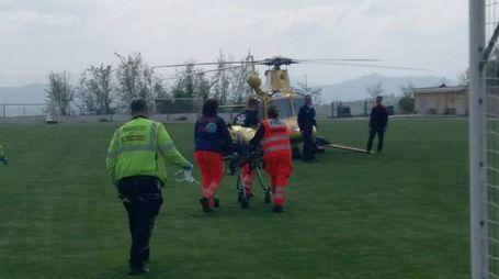 Incidente a Montegiorgio, l'eliambulanza (foto Zeppilli)