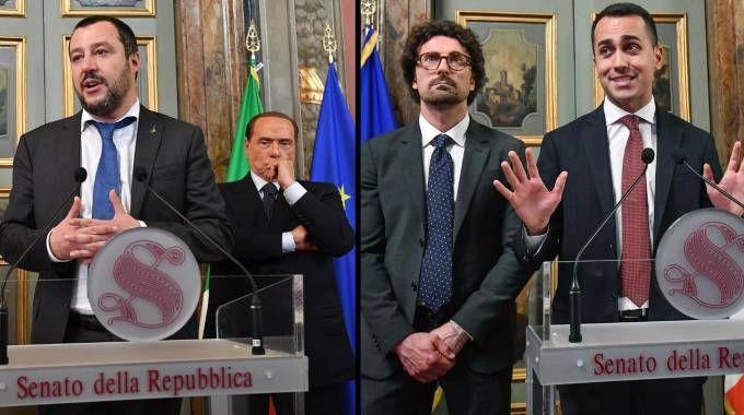Governo, Salvini e Di Maio dopo l'incontro con la Casellati (Ansa)
