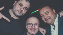 Da sinistra Andrea Secci, l'organizzatore della festa Enrico Nardi e Mirco Alfonsetti
