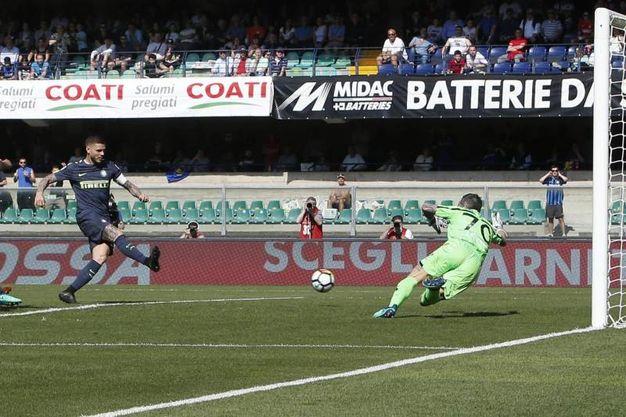 Chievo-Inter 0-1, gol di Icardi (Ansa)