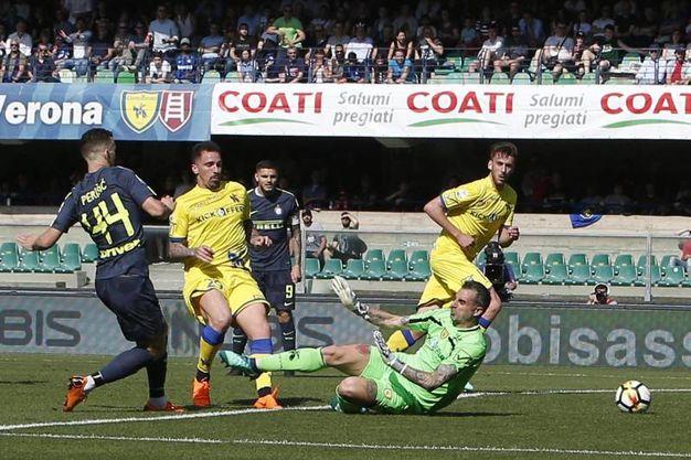 Chievo-Inter 0-2, gol di Perisic (Ansa)