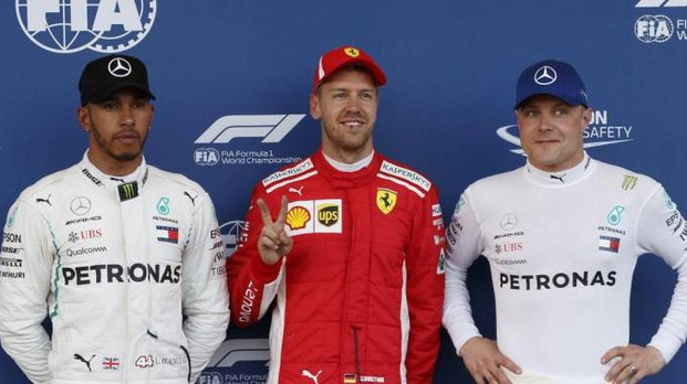 Hamilton, Vettel e Bottas (Ansa)