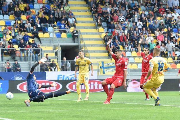 Il gol di Dionisi che porta in vantaggio il Frosinone (foto LaPresse)