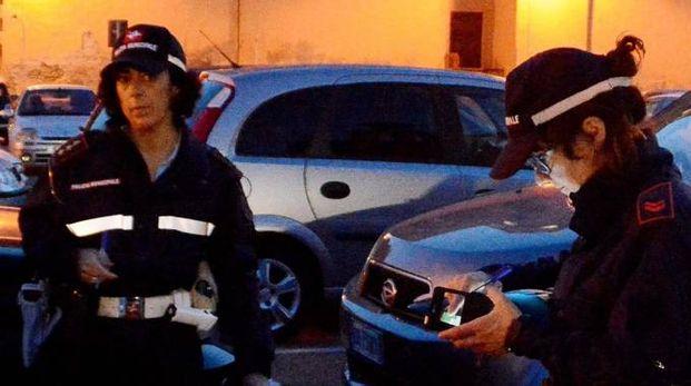 Gli agenti della municipale impegnati nel quartiere della Venezia (foto Lanari)