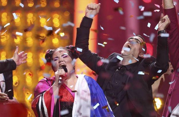 Netta festeggia la vittoria (Ansa)