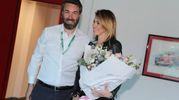Aida Yespica con il presidente di Formula Imola, Uberto Selvatico Estense (Isolapress)