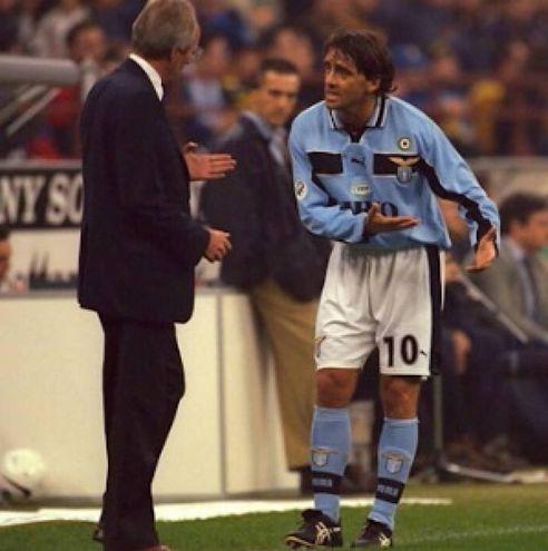 Roberto Mancini vice di Eriksson sulla panchina della Lazio, 2000