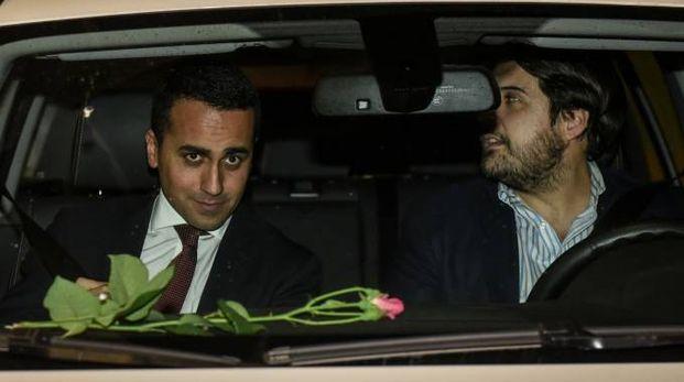 Di Maio all'uscita del vertice con Salvini (LaPresse)