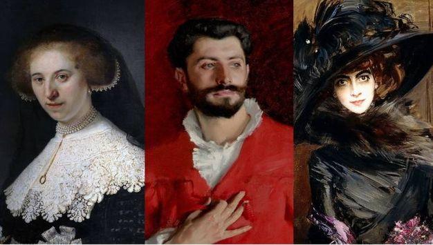 """Da sinistra verso destra: Rembrandt van Rijn, """"Ritratto di Oopjen Coppit"""" (1634), John Singer Sargent, """"Dr. Samuel Jean Pozzi"""" (1881); Giovanni Boldini, """"Marchesa Luisa Casati con un levriero"""" (1908)"""
