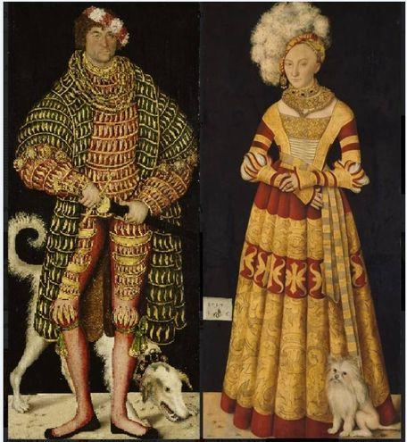 """""""Enrico il Pio, Duca di Sassonia"""" e Caterina, Contessa di Meclemburgo"""", fra i primissimi dipinti realizzati da Lucas Cranach il Vecchio nel 1514"""