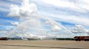 L'inaugurazione del primo Boeing 737 Max di Air Italy a Malpensa (Ansa)