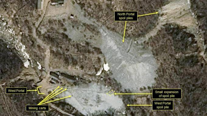 Foto satellitari del sito di test nucleari di Punggye-ri (Ansa)