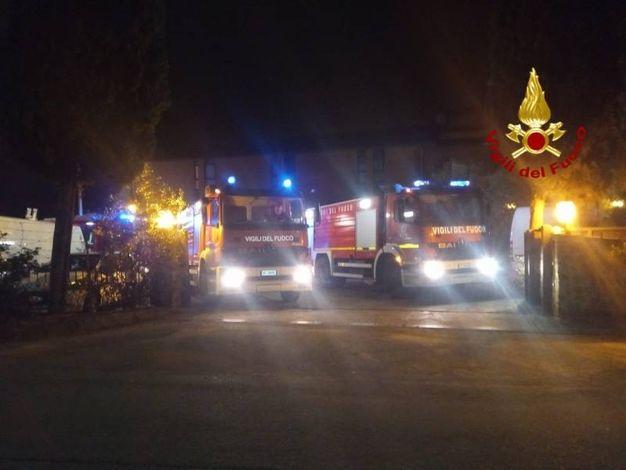 L'autobus turistico andato a fuoco a Poggio a Caiano (foto Vigili del Fuoco)