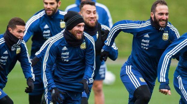 L'Argentina in allenamento (Ansa)