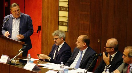 """L'intervento del direttore della """"Nazione"""", Francesco Carrassi (New Press Photo)"""