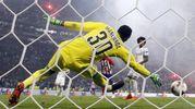 Gabi manda in rete il gol dello 0-3 (Epa)