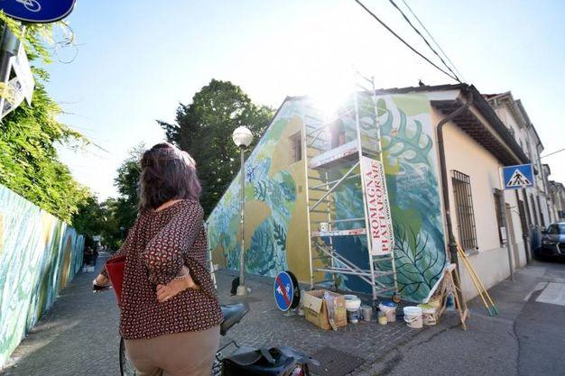 Il festival Murali, con sei artisti di fama internazionale impegnati nella realizzazione di altrettanti  murales sui muri di Forlì (foto Fantini)