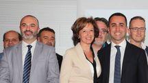 Luigi Di Maio a Imola con Massimo Bugani e Manuela Sangiorgi (Isolapress)