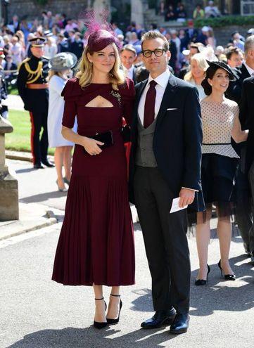 L'attore Gabriel Macht, anche lui protagonista della serie tv 'Suits', con la moglie Jacinda Barrett (Lapresse)