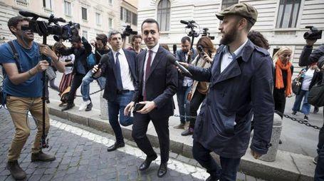 Di Maio arriva a piedi al Colle, circondato da fotografi e reporter (Ansa)