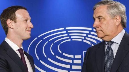 Mark Zuckerberg e Antonio Tajani (Ansa)