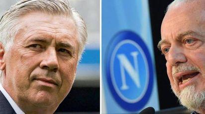 Carlo Ancelotti e Aurelio De Laurentiis (combo Ansa)