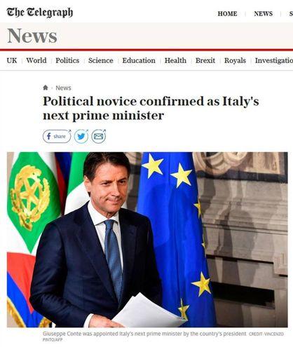 Lo ascreenshot di 'The Daily Telegraph' con la notizia dell'incarico a Giuseppe Conte per la formazione del nuovo governo (Ansa)