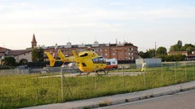 L'elicottero è atterrato nella piazzola nei pressi del sottopasso Lugo sud (Scardovi)