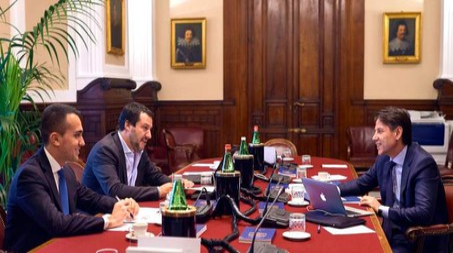 Il vertice Conte-Di Maio-Salvini (ImagoE)