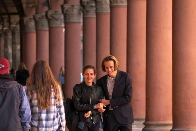 Greta Montanari e Saul Nanni durante le riprese