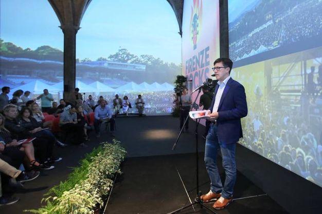Firenze, presentazione del festival Firenze Rocks.  Dario Nardella,  Alessandro Bellucci, Roberto De Luca (Marco Mori/New Press Photo)