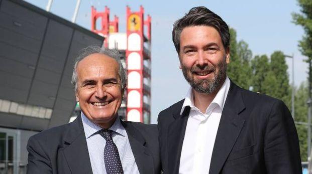 Roberto Marazzi (a sinistra) con il presidente di Formula Imola, Uberto Selvatico Estense