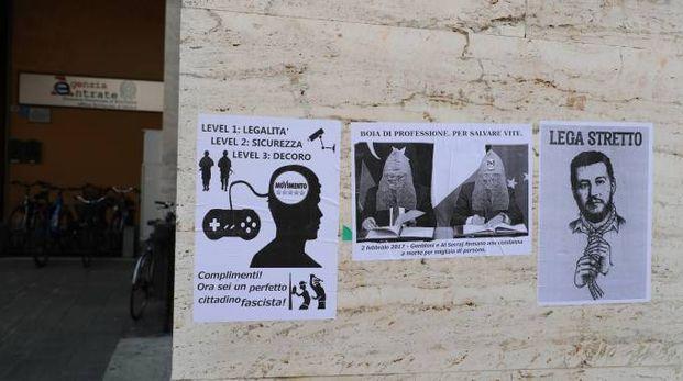 I manifesti comparsi questa mattina in piazza Gramsci