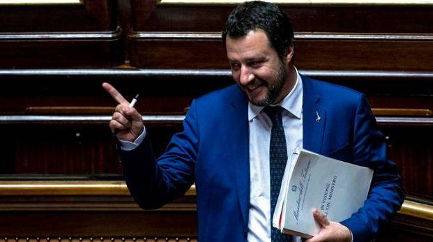 Matteo Salvini in Senato (Imagoeconomia)