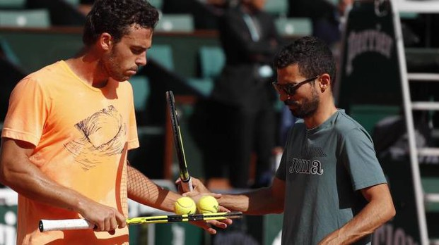 Marco Cecchinato con Simone Vagnozzi al Roland Garros