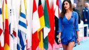 Belen Rodriguez in occasione della conferenza stampa Mediaset per la presentazione dell'offerta televisiva Mondiali Russia 2018 a Cologno Monzese (LaPresse)