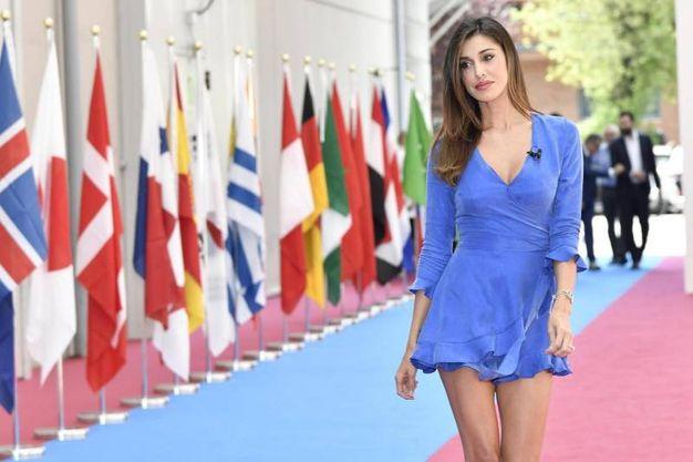 Belen Rodriguez fotografata in occasione della conferenza stampa Mediaset per la presentazione dell'offerta televisiva Mondiali Russia 2018 a Cologno Monzese (LaPresse)