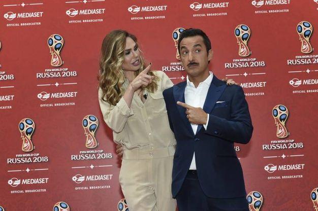 Ilary Blasi e Nicola Savino, conferenza stampa Mediaset Mondiali Russia 2018 (Imagoeconomica)