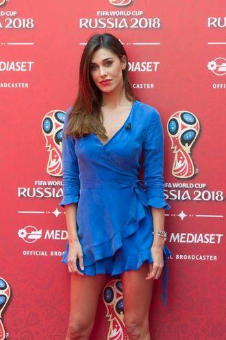 Belen Rodriguez fotografata in occasione della conferenza stampa Mediaset per la presentazione dell'offerta televisiva Mondiali Russia 2018  (Newpress)
